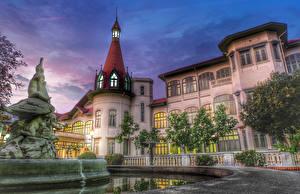 Обои Таиланд Здания Фонтаны Скульптуры Дворец Phaya Thai Palace