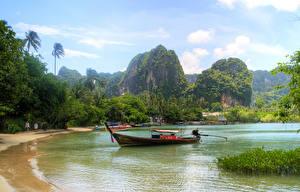 Обои Таиланд Тропический Лодки Берег Залив Утес