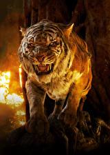 Картинки Тигры Книга джунглей 2016 Оскал Sher-Khan Фильмы