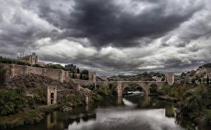 Картинки Толедо Испания Речка Мосты Крепость