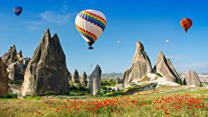 Фото Турция Маки Небо Утес Аэростат Cappadocia Природа
