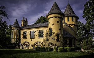 Картинка США Замки Дизайн Curwood Castle Michigan Города