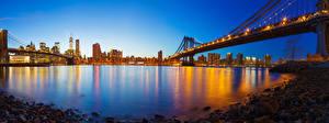 Обои США Здания Мосты Вечер Камень Нью-Йорк Манхэттен Залив