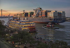 Обои США Причалы Корабли Вечер Речные суда Залив Savannah Georgia