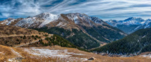 Фото США Горы Леса Снег Colorado Природа