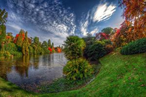 Фотография Штаты Парки Озеро Осенние Деревья Кусты HDRI Sheffield Lake Park