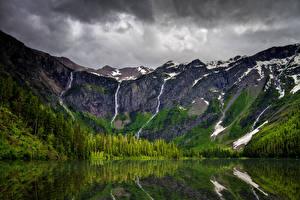 Фотография США Парк Гора Озеро Лес Небо Avalanche Lake Glacier National Park Природа