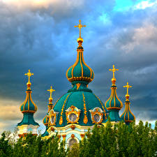 Фото Украина Киев Храмы Церковь Купол St. Andrew Church Города