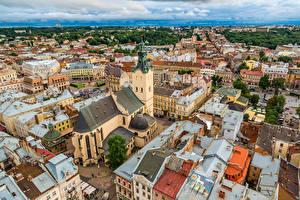 Фотография Украина Львов Здания Сверху Города