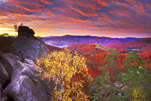 Фотография Украина Горы Леса Осень Небо Вечер Карпаты Облака