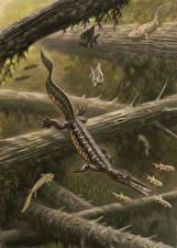 Фотография Подводные Древние животные Динозавры Рисованные Mesosaurus Животные
