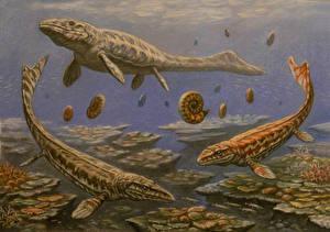 Картинки Подводные Древние животные Динозавры Рисованные Prognathodon, Mosasaurus, Globidens