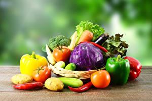 Фотографии Овощи Перец Томаты Картошка Капуста