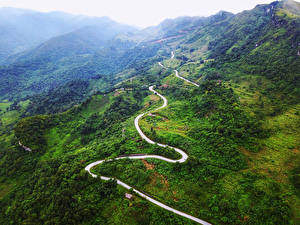 Фото Вьетнам Горы Леса Дороги Bac Can Природа