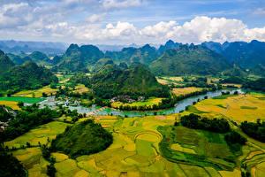 Обои Вьетнам Пейзаж Горы Поля Речка Cao Bang Природа
