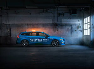 Фото Volvo Голубой Сбоку 2016 V60 Polestar WTCC Safety Car