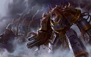 Картинки Warhammer 40000 Воители Iron Warrior Obliterator Фэнтези