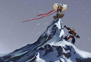 Картинка Warhammer 40000 Воины Горы Мечи Снег Игры Фэнтези