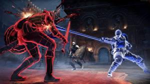 Картинки Воины Сражения Dark Souls 3 Мечи Копья Игры 3D_Графика
