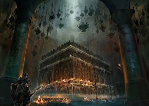Картинка Воины Dark Souls 3 Броня Игры Фэнтези