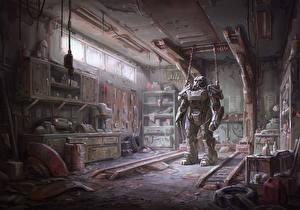 Фотографии Воители Fallout 4 Гараж Броня Игры Фэнтези
