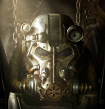 Картинки Воины Fallout 4 Броня Шлем Power Armor, Brotherhood of Steel Игры Фэнтези