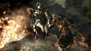 Картинка Воины Пламя Dark Souls III Доспехи Игры Фэнтези 3D_Графика