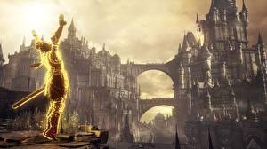 Фотографии Воины Крепость Dark Souls III компьютерная игра Фэнтези 3D_Графика
