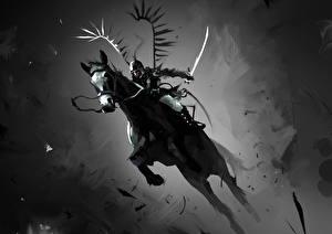 Обои Воины Лошади Прыжок Черно белое Мечи Фантастика