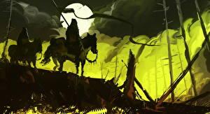 Картинка Воины Лошади Ночные Луна Фантастика