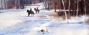Фото Воители Лошади Снег