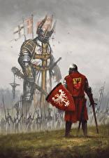 Фотография Воины Рыцарь Щит Мечи Battle of Grunwald Фантастика