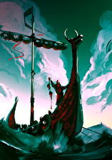 Обои Воины Корабли Парусные Викинги Фэнтези