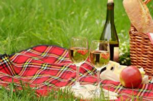 Фото Вино Яблоки Пикнике Бутылки Бокал Двое Еда