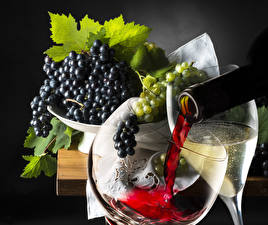Обои Вино Виноград Бокал Еда