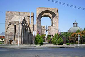 Картинка Армения Храмы Ограда Ворота Armavir Города