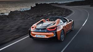 Фотография БМВ Движение Оранжевый Вид Родстер i8 2018 Автомобили