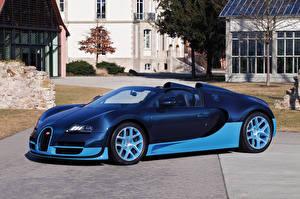 Фотографии BUGATTI Синий Кабриолет Дорогие 2012-15  Veyron Grand Sport Roadster  Vitesse Авто
