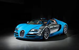 Картинки BUGATTI Люксовые Голубой Кабриолета 2013 Veyron Grand Sport Roadster Vitesse Meo Constantini Автомобили