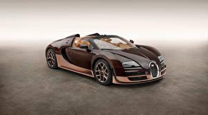 Фотографии BUGATTI Коричневый Металлик Кабриолет Дорогие 2014 Veyron Grand Sport Roadster Vitesse Rembrandt Авто