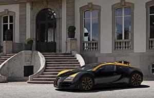 Картинка BUGATTI Роскошная Черный Металлик 2014 Veyron Grand Sport Roadster Vitesse One of One машина