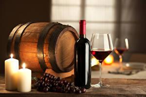 Картинки Бочка Виноград Свечи Вино Бутылка Продукты питания