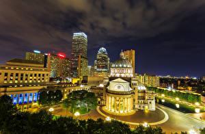 Фотография Бостон Штаты Здания Ночные Уличные фонари Города
