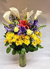 Фотография Букет Хризантемы Ирисы Гвоздики Белокрыльник Лилии Вазе Цветы