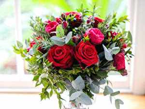 Фотография Букеты Розы Бутон Красный Цветы