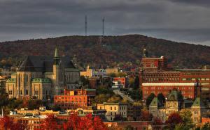 Обои Канада Дома Осень Sherbrooke Города картинки