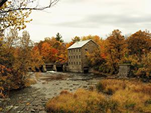 Фотографии Канада Здания Речка Осенние Леса Мельница Manotick Ottawa Природа