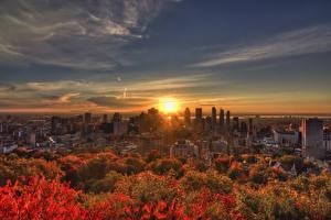 Фото Канада Здания Рассветы и закаты Осень Небо Мегаполис Montreal город