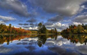 Фото Канада Река Леса Осенние Небо Квебек Kingsbury Природа