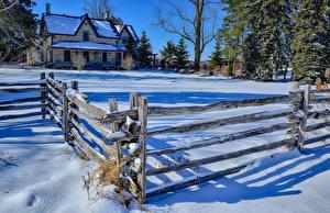 Обои Канада Зимние Здания Снег Ограда Milton Ontario Природа